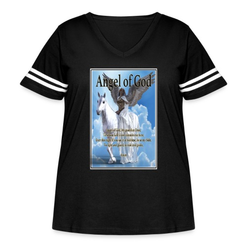 Angel of God, My guardian Dear (version with sky) - Women's Curvy Vintage Sport T-Shirt