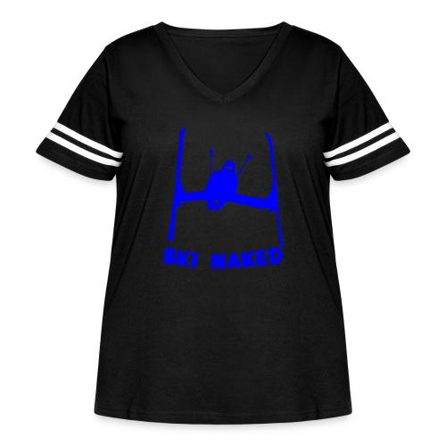 Ski Naked Blue - Women's Curvy Vintage Sport T-Shirt