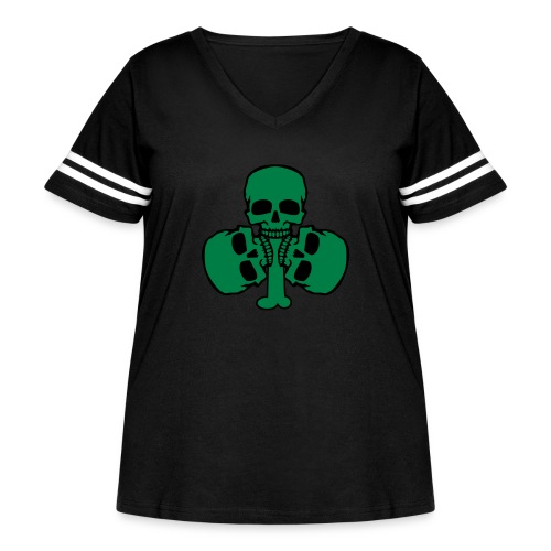 Skull Shamrock w/ Teeth - Women's Curvy Vintage Sport T-Shirt