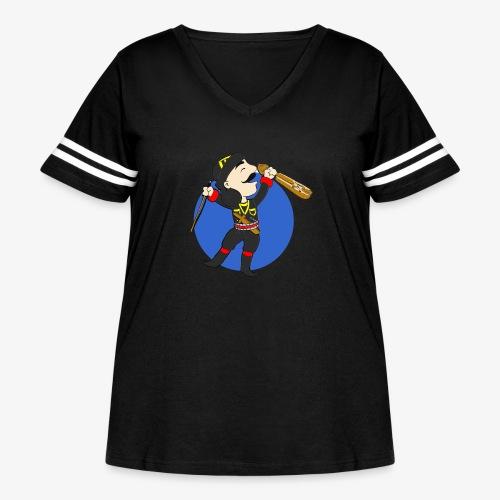 Cartoon - Pontian Holding Lyra/Blue Background - Women's Curvy Vintage Sport T-Shirt