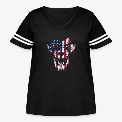 American Flag Lion - Women's Curvy Vintage Sport T-Shirt