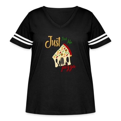Just feed me pizza - Women's Curvy Vintage Sport T-Shirt
