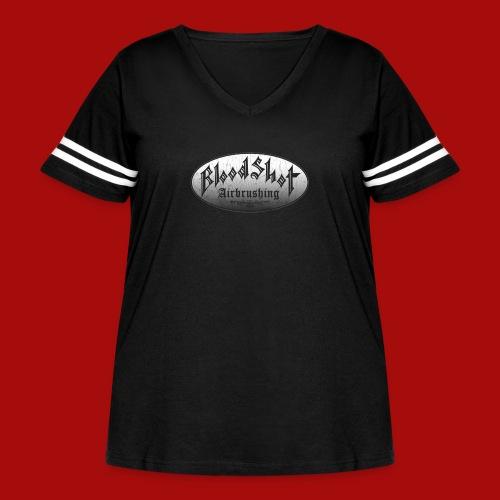 BloodShot Airbrushing Logo - Women's Curvy Vintage Sport T-Shirt