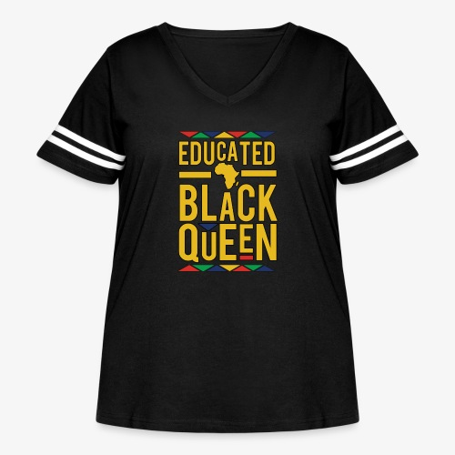 Dashiki Educated BLACK Queen - Women's Curvy Vintage Sport T-Shirt
