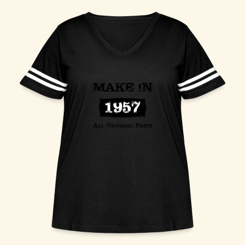 Birthday Gifts Made 1957 All Original Parts - Women's Curvy Vintage Sport T-Shirt