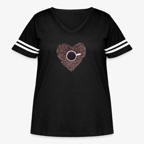 I Heart Coffee Black/White Mug - Women's Curvy Vintage Sport T-Shirt