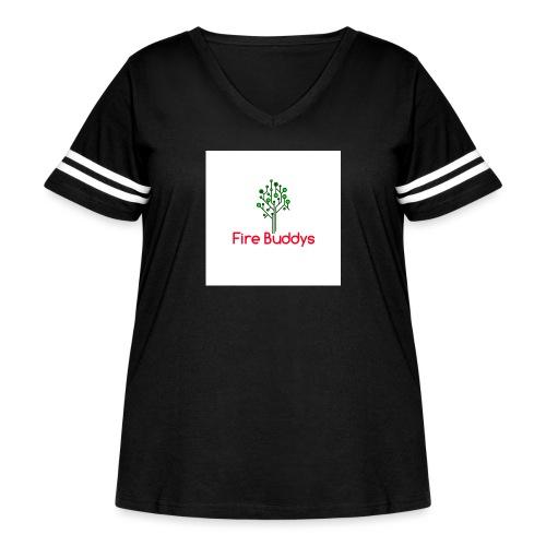 Fire Buddys Website Logo White Tee-shirt eco - Women's Curvy Vintage Sport T-Shirt