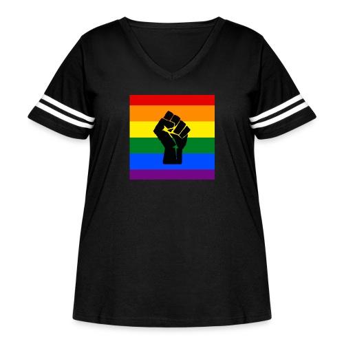 BLM Pride Rainbow Black Lives Matter - Women's Curvy Vintage Sport T-Shirt