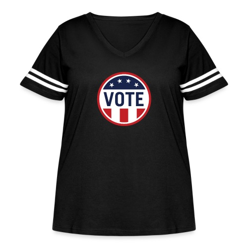 Vote Red White and Blue Stars and Stripes - Women's Curvy Vintage Sport T-Shirt