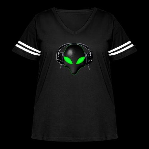 Alien Bug Face Green Eyes in DJ Headphones - Women's Curvy Vintage Sport T-Shirt