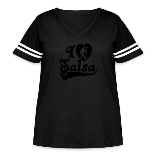 I Love Salsa Dancing T-Shirt Design - Women's Curvy Vintage Sport T-Shirt