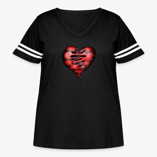 Chains Heart Ceramic Mug - Women's Curvy Vintage Sport T-Shirt