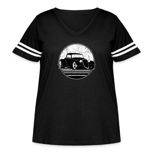 Retro Hot Rod Grungy Sunset Illustration - Women's Curvy Vintage Sport T-Shirt