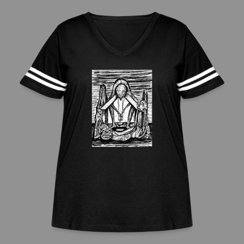 Wolfman Originals Black & White 11 - Women's Curvy Vintage Sport T-Shirt