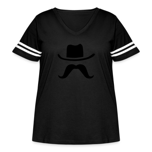 Hat & Mustache - Women's Curvy Vintage Sport T-Shirt