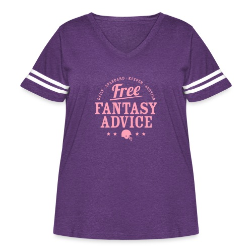 Free Fantasy Football Advice - Women's Curvy Vintage Sport T-Shirt