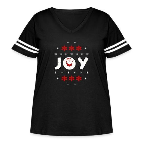 Christmas JOY Santa Clause Ugly Style - Women's Curvy Vintage Sport T-Shirt