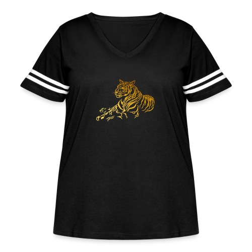 Gold Tiger - Women's Curvy Vintage Sport T-Shirt