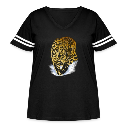 Golden Snow Tiger - Women's Curvy Vintage Sport T-Shirt