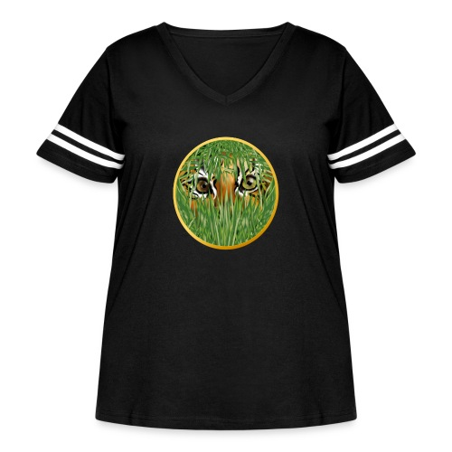 Tiger In The Grass - Women's Curvy Vintage Sport T-Shirt