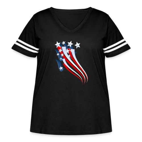 Sweeping American Flag - Women's Curvy Vintage Sport T-Shirt