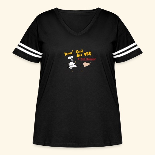 Jones Good Ass BBQ and Foot Massage logo - Women's Curvy Vintage Sport T-Shirt