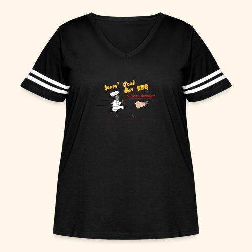 Jones Good Ass BBQ and Foot Massage logo - Women's Curvy Vintage Sport T-Shirt