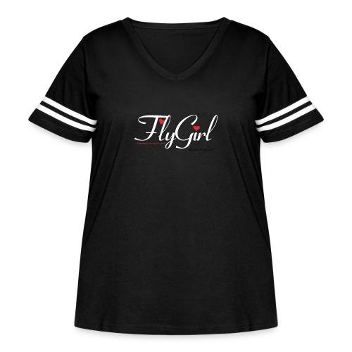 FlyGirlTextWhite W Black png - Women's Curvy Vintage Sport T-Shirt