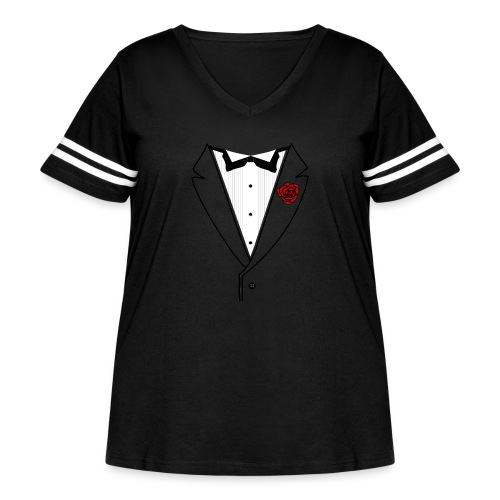 Tuxedo w/Black Lined Lapel - Women's Curvy Vintage Sport T-Shirt
