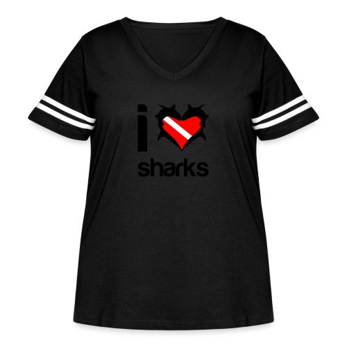 I Love Sharks - Women's Curvy Vintage Sport T-Shirt