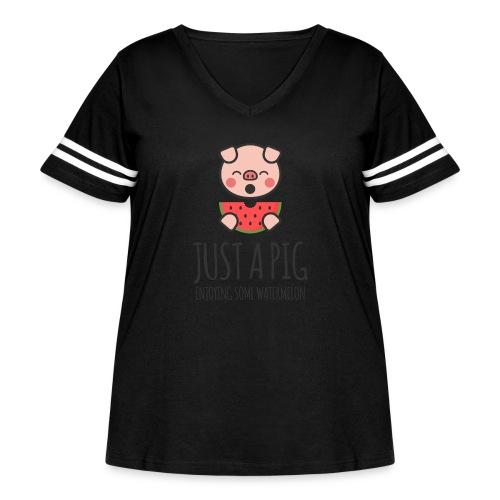 Just A Pig Enjoying Some Watermelon - Women's Curvy Vintage Sport T-Shirt