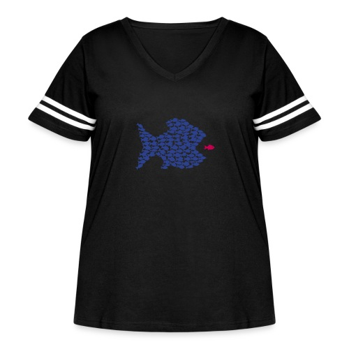 fish swarm comic hunt hunter ocean hunting fishes - Women's Curvy Vintage Sport T-Shirt