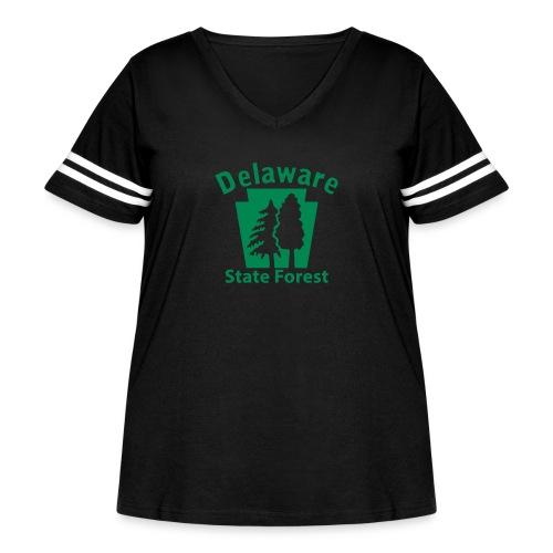Delaware State Forest Keystone (w/trees) - Women's Curvy Vintage Sport T-Shirt