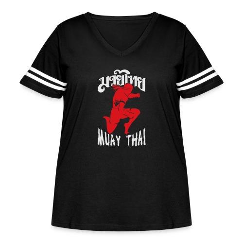 Muay thai flying knee kick - Women's Curvy Vintage Sport T-Shirt