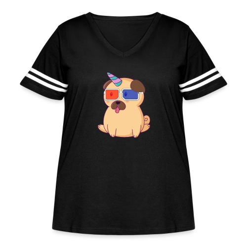 Dog with 3D glasses doing Vision Therapy! - Women's Curvy Vintage Sport T-Shirt