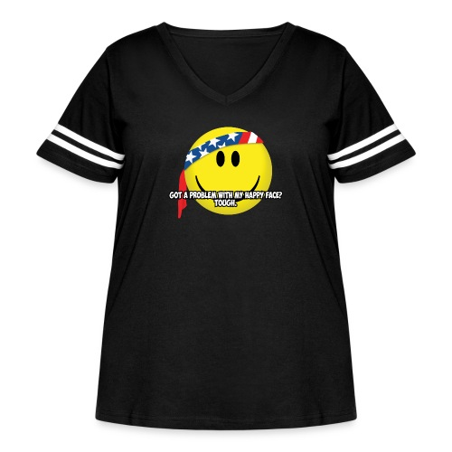 Happy Face USA - Women's Curvy Vintage Sport T-Shirt