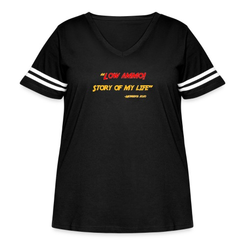 Logoed back with low ammo front - Women's Curvy Vintage Sports T-Shirt