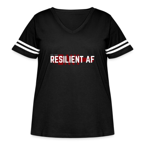 RESILIENT WHITE with red - Women's Curvy Vintage Sport T-Shirt