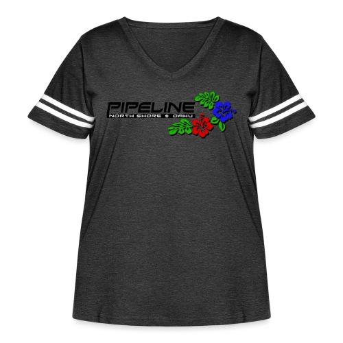 Pipeline North Shore w/ Colorful Hibiscus Flowers - Women's Curvy Vintage Sport T-Shirt