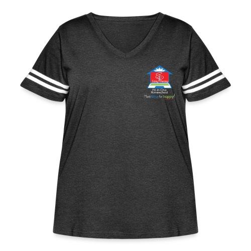EZPZ Logo All-in-One Homeschool and Tagline - Women's Curvy Vintage Sports T-Shirt