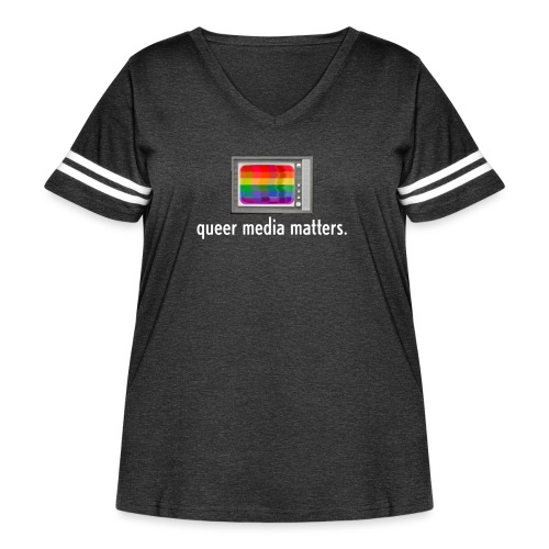 Queer Media Logo in Expanded Sizes - Women's Curvy Vintage Sports T-Shirt