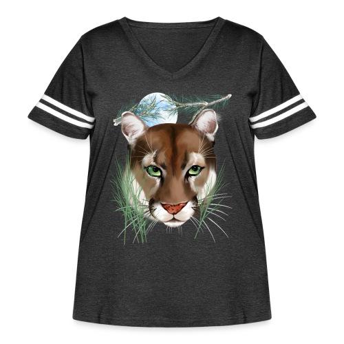 Midnight Puma - Women's Curvy Vintage Sport T-Shirt