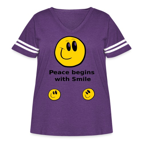 Peace begins with Smile - Women's Curvy Vintage Sport T-Shirt