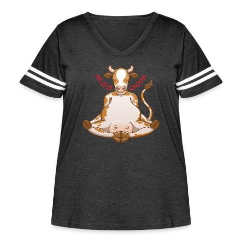 Pretty cow meditating while changing moo into oom - Women's Curvy Vintage Sport T-Shirt