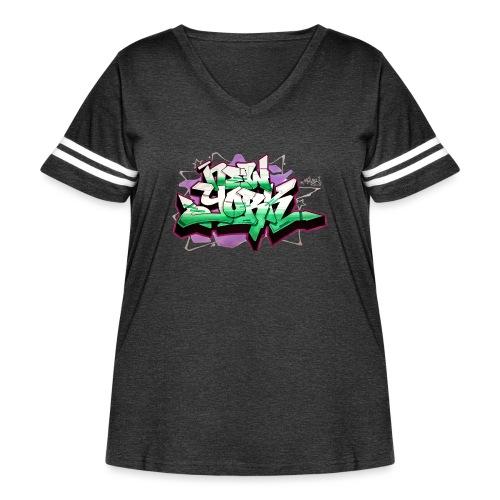 RANGE - Design for New York Graffiti Color Logo - Women's Curvy Vintage Sport T-Shirt