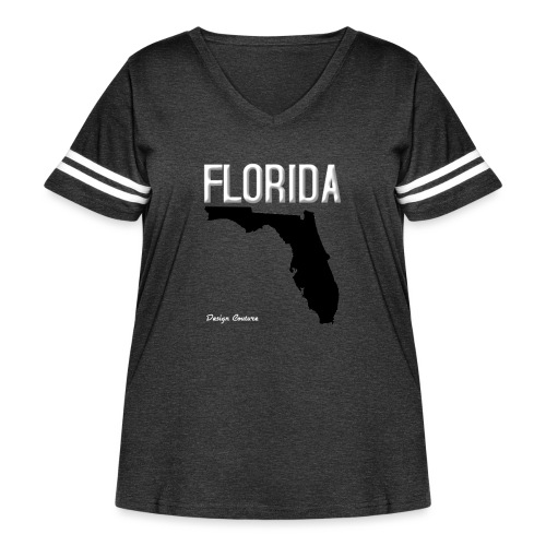 FLORIDA REGION MAP WHITE - Women's Curvy Vintage Sport T-Shirt