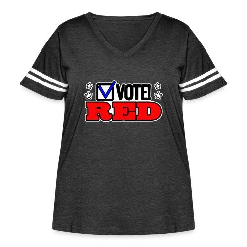 VOTE RED - Women's Curvy Vintage Sport T-Shirt