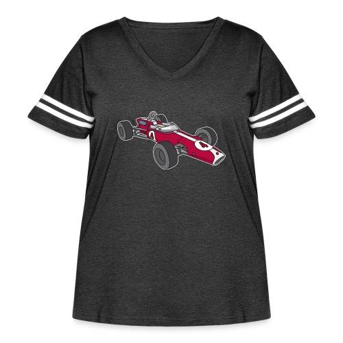 Red racing car, racecar, sportscar - Women's Curvy Vintage Sports T-Shirt