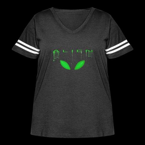 Alien Dribble with ET eyes - Green - Women's Curvy Vintage Sport T-Shirt