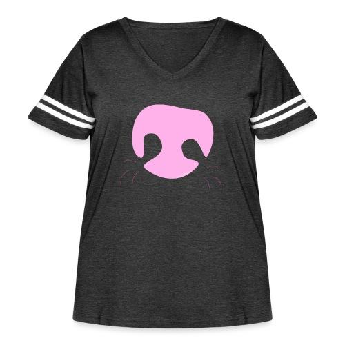Pink Whimsical Dog Nose - Women's Curvy Vintage Sport T-Shirt